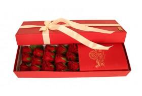 Golden Red Rose Flower Box