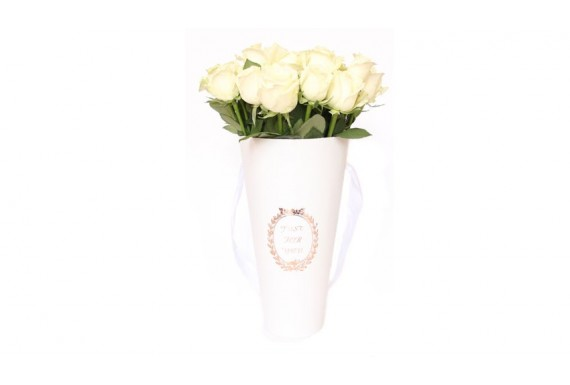 سطل گل رز مخروطی - سفید