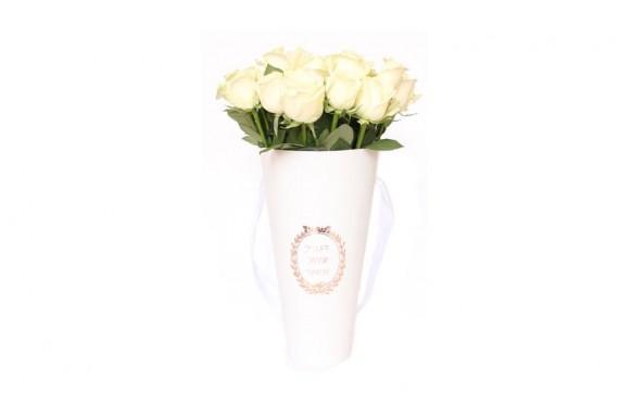 cone flower bucket - white