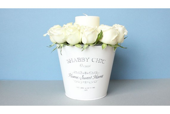 سطل گل رز و شمع  shabby chic