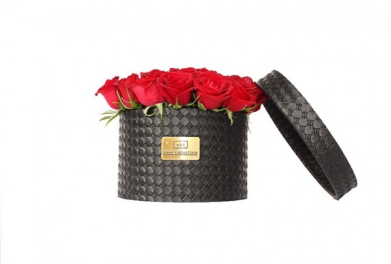 Leather Circular Flower Box