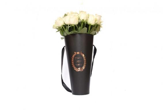 سطل گل رز مخروطی - مشکی