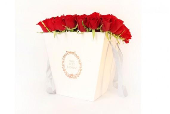 سطل گل رز مربع -سفید