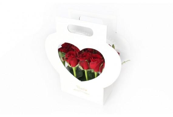 باکس گل قلبی دسته دار