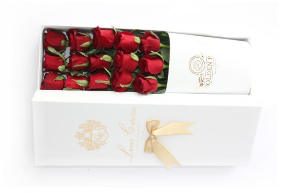 Golden Rose Flower Box-White