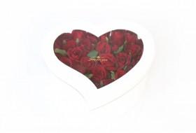 باکس گل قلبی مدل 2 - سفید