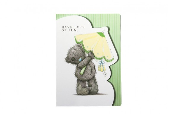 Teddy bear and umbrella greeting card