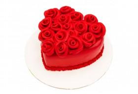 کیک قلبی رز