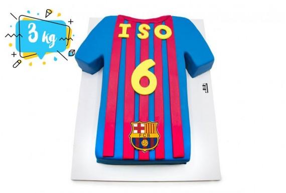 کیک تولد مدل پیراهن بارسلونا
