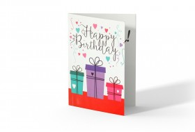 Gift box happy birthday greeting card