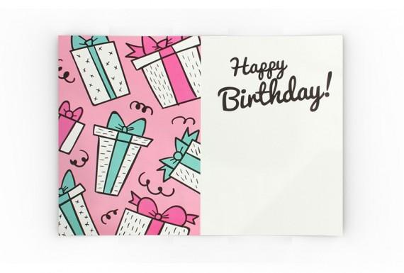 Gift box happy birthday greeting card