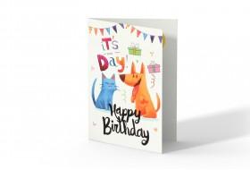 کارت تبریک تولد طرح گربه و سگ