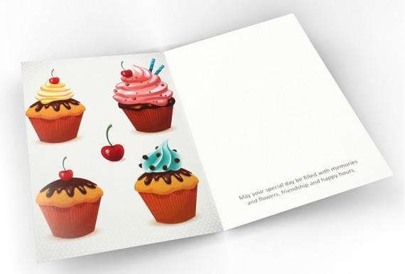 Cupcake happy birthday greeting card No.1
